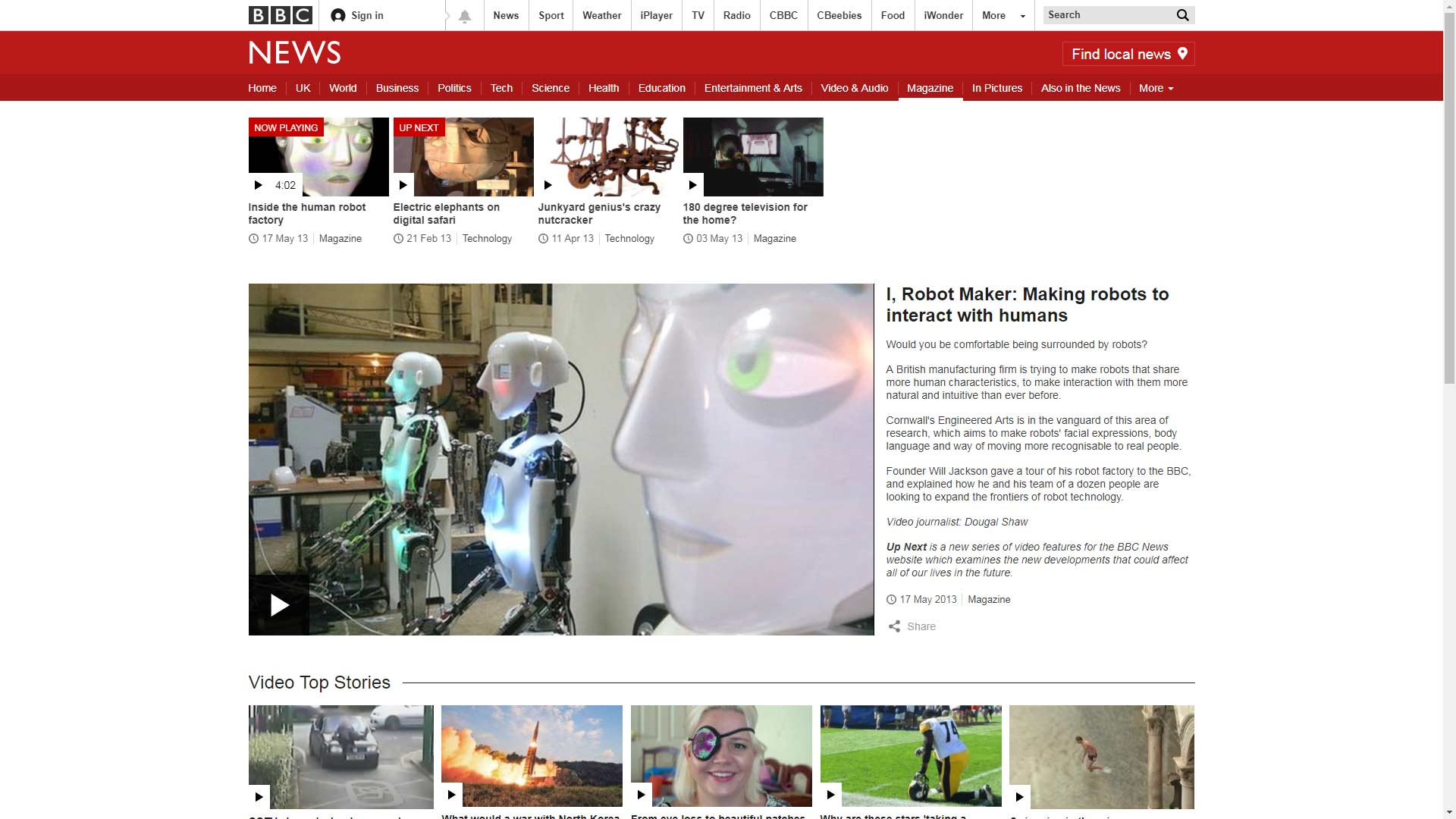 Engineered Arts Workshop, BBC, RoboThespian, SociBot Humanoid Robot