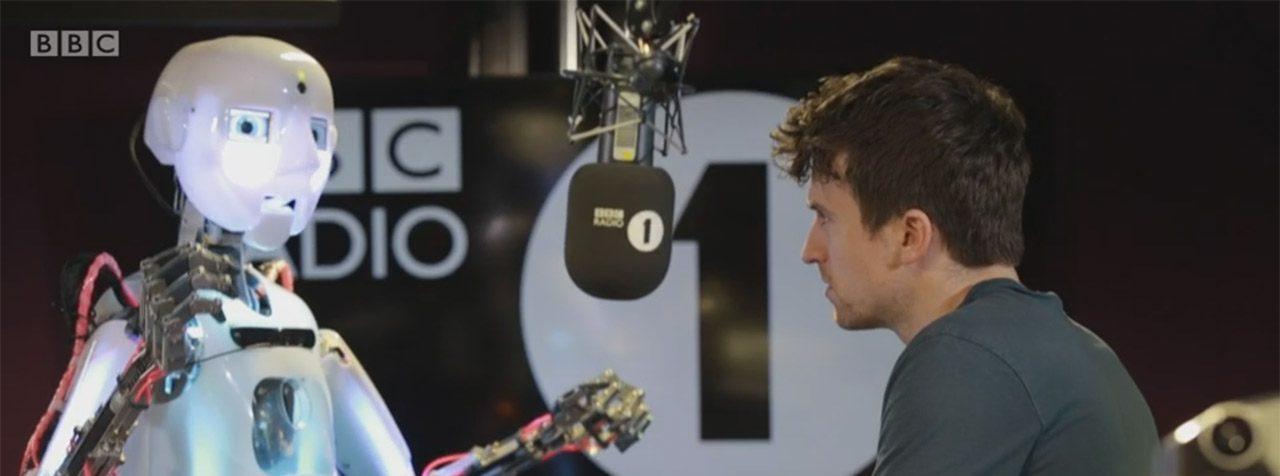 Greg James interviews RoboThespian, about becoming a Robot Ed Sheeran