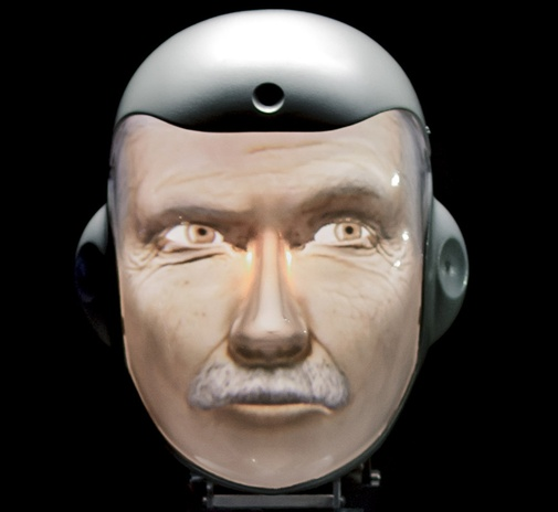 Semi Humanoid Robot SociBot Einstein Close up - Engineered Arts