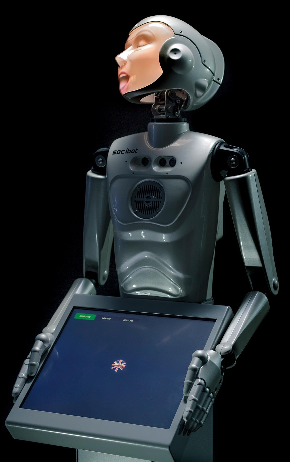Semi Humanoid Robot SociBot Kiodk White Female Singing Engineered Arts