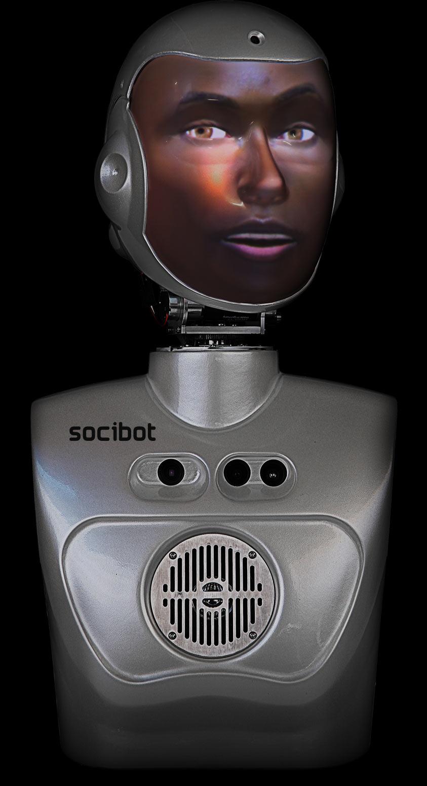 Semi Humanoid Robot SociBot Mini Black Male Engineered Arts