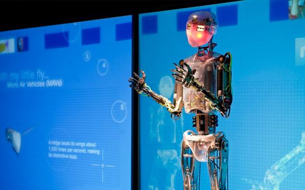 Humanoid Thinktank robot RoboThespian struts his stuff