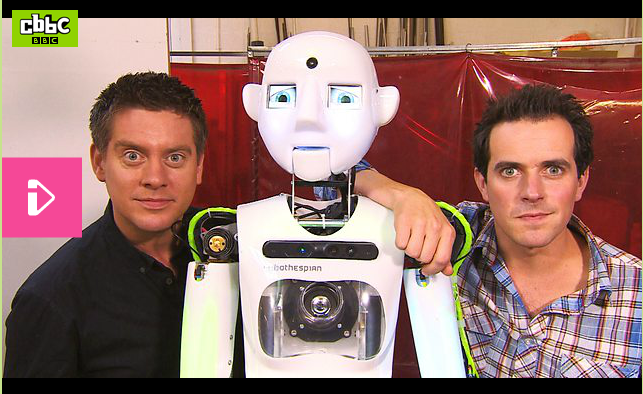 Dick and Dom & Humanoid Robot RoboThespian in Engineered Arts Workshop